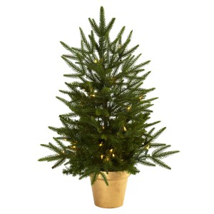 2.5' Christmas Tree w/Golden Planter & Clear Lights