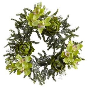 """22"""" Iced Cymbidium Orchid & Artichoke Wreath"""