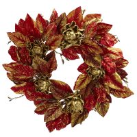 "24"" Burgundy & Gold Artcihoke Wreath"