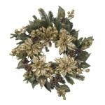 """24"""" Golden Poinsettia Wreath"""