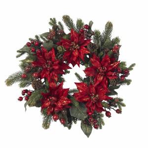 """24"""" Poinsettia & Berry Wreath"""