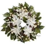 """24"""" Snowwhite Poinsettia Wreath"""