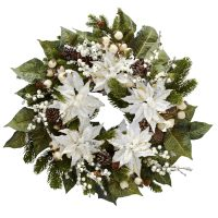 "24"" Snowwhite Poinsettia Wreath"