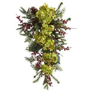 """26"""" Hydrangea, Pine & Berry Teardrop"""