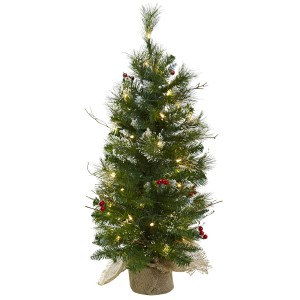3' Christmas Tree w/Clear Lights Berries & Burlap Bag