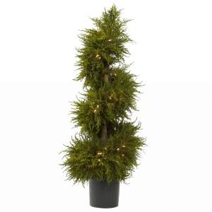 3.5 ft Cedar Spiral Topiary w/Lights