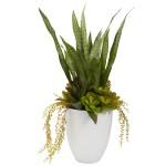 "30"" Mixed Succulent w/White Planter"