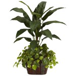 4' Bird of Paradise w/Vase & Pothos Silk Plant