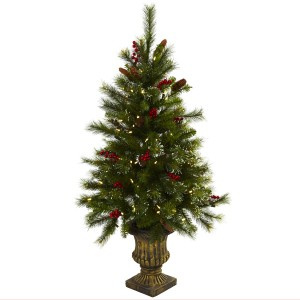 4' Christmas Tree w/Berries, Pine Cones, LED Lights & Decorative Urn