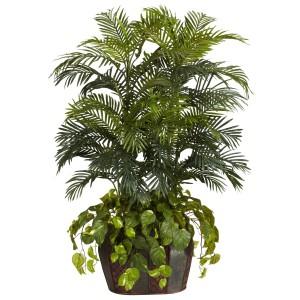 4.5' Double Areca w/Vase & Pothos Silk Plant