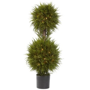 "40"" Cedar Double Ball Topiary w/Lights"