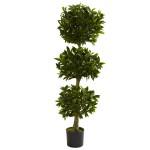 5' Triple Bay Leaf Topiary UV Resistant (Indoor/Outdoor)