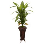 """57"""" Dracaena w/Stand Silk Plant (Real Touch)"""