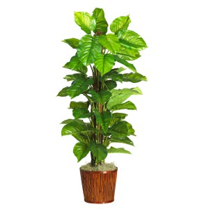 "63"" Large Leaf Philodendron Silk Plant w/Planter (Real Touch)"