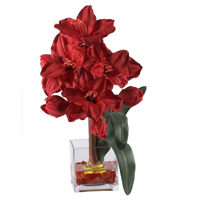 Amaryllis liquid illusion silk flower arrangement silk specialties amaryllis liquid illusion silk flower arrangement mightylinksfo