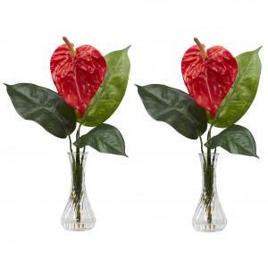 Anthurium w/Bud Vase (Set of 2) Silk Flower Arrangement
