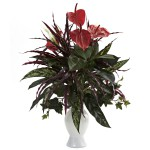 Anthurium w/Mixed Greens & White Vase