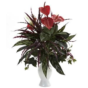 Anthurium w/Mixed Greens & White Vase
