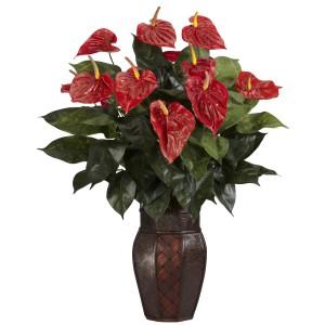 Anthurium w/Vase Silk Plant