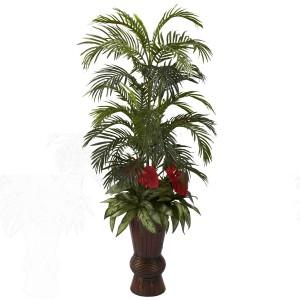 Areca & Mixed Greens w/Bamboo Planter