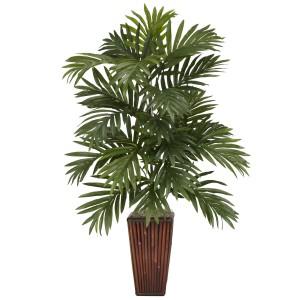 Areca Palm w/Bamboo Vase Silk Plant