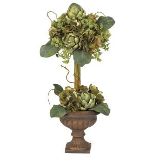 Artichoke Topiary Silk Flower Arrangement