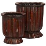 Bamboo Decorative Planters (Set of 2)