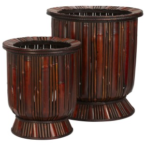 Bamboo Decorative Planters (Set of 2)