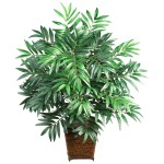 Bamboo Palm w/Wood Wicker Basket Silk Plant