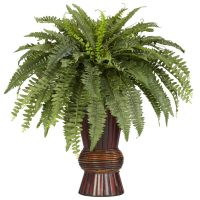 Boston Fern w/Bamboo Vase Silk Plant