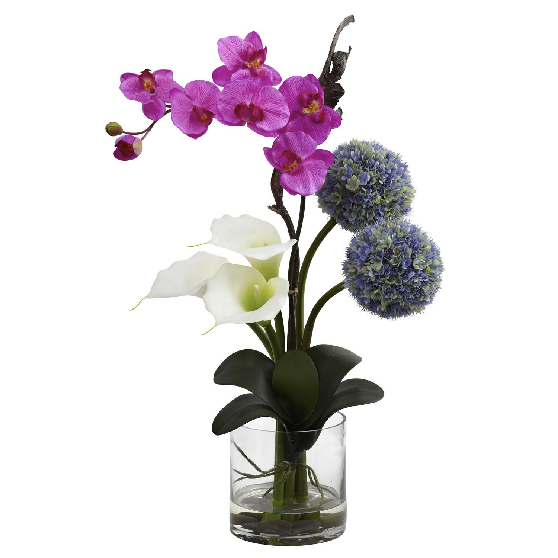 Calla Orchid Amp Ball Flower Arrangement Silk Specialties