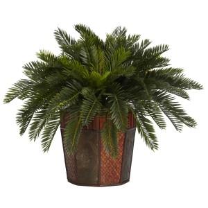 Cycas w/Octagon Vase Silk Plant