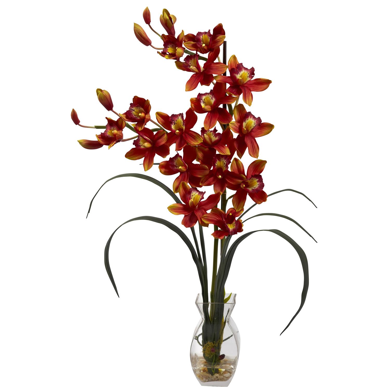 Cymbidium orchid wvase arrangement silk specialties cymbidium orchid wvase arrangement mightylinksfo
