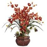 Cymbidium w/Decorative Vase Silk Arrangement