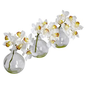Cymbidium w/Vase  Silk Flower Arrangement (Set of 3)