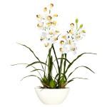 Cymbidium w/White Vase Silk Flower Arrangement