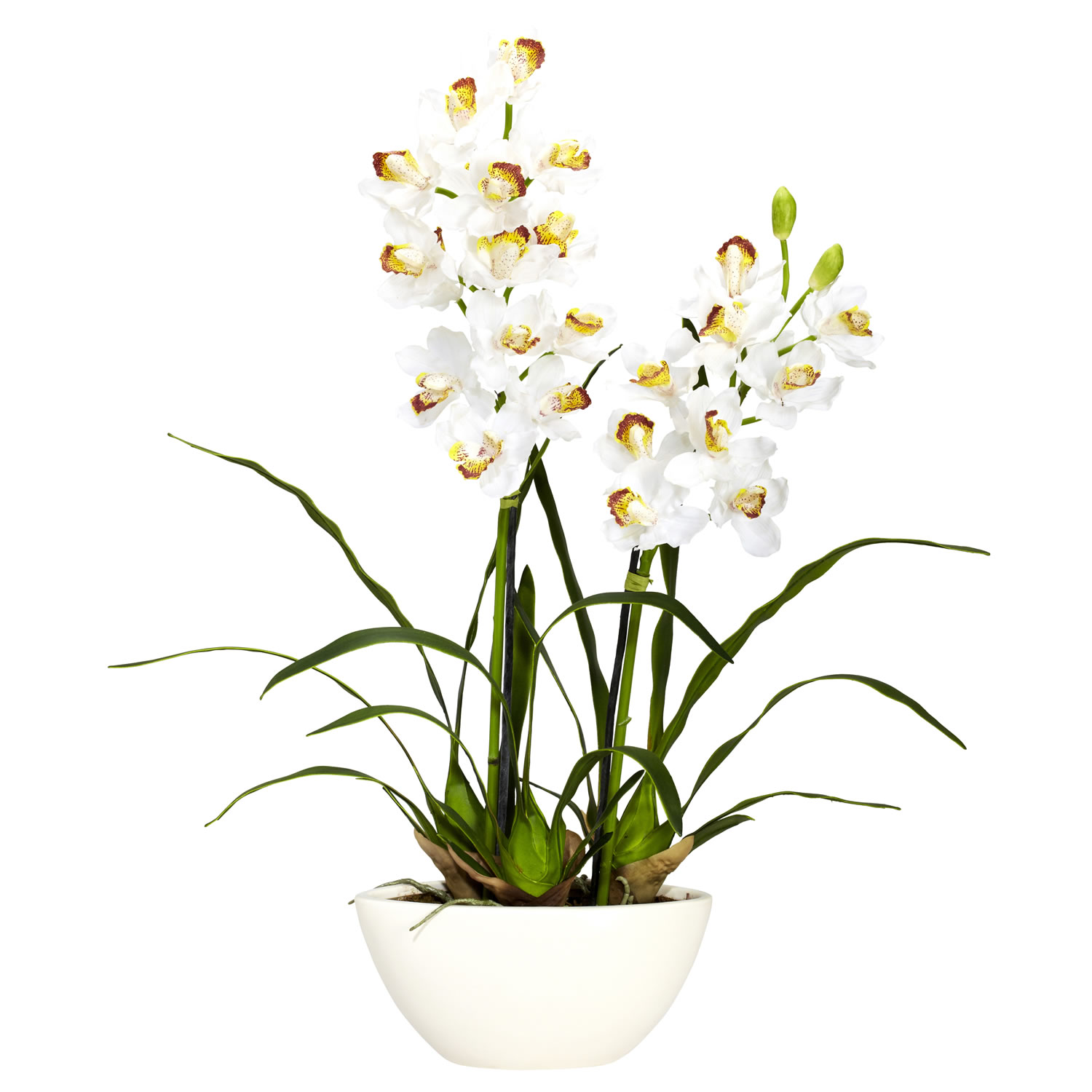 Cymbidium Wwhite Vase Silk Flower Arrangement Silk Specialties
