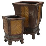 Decorative Wood Planters (Set of 2)