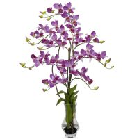 Dendrobium w/Curved Vase Silk Flower Arrangement