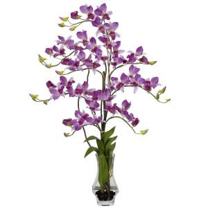 Dendrobium w/Curved Vase Silk Flower Arrangement