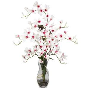 Dendrobium w/Vase Silk Flower Arrangement