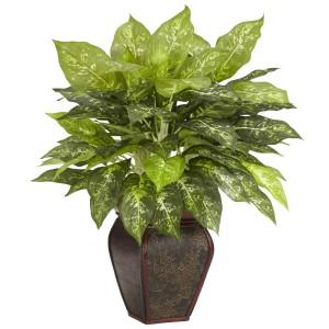 Dieffenbachia w/Decorative Vase Silk Plant