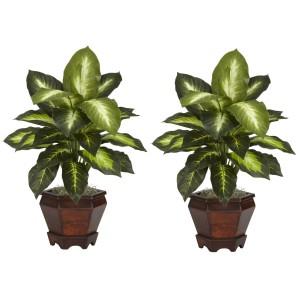 Dieffenbachia w/Wood Vase Silk Plant (Set of 2)