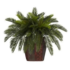 Double Cycas w/Vase Silk Plant