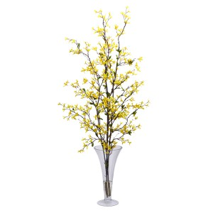 Forsythia w/Vase Silk Flower Arrangement