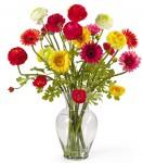 Gerber and Ranunculus Silk Flower Arrangement