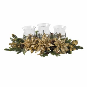 Golden Poinsettia Triple Candelabrum