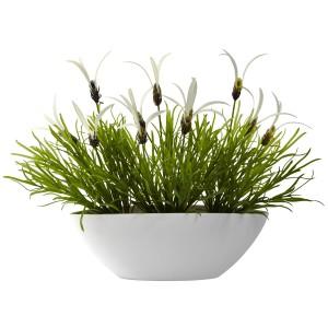 Grass & White Floral w/White Planter (Indoor/Outdoor)