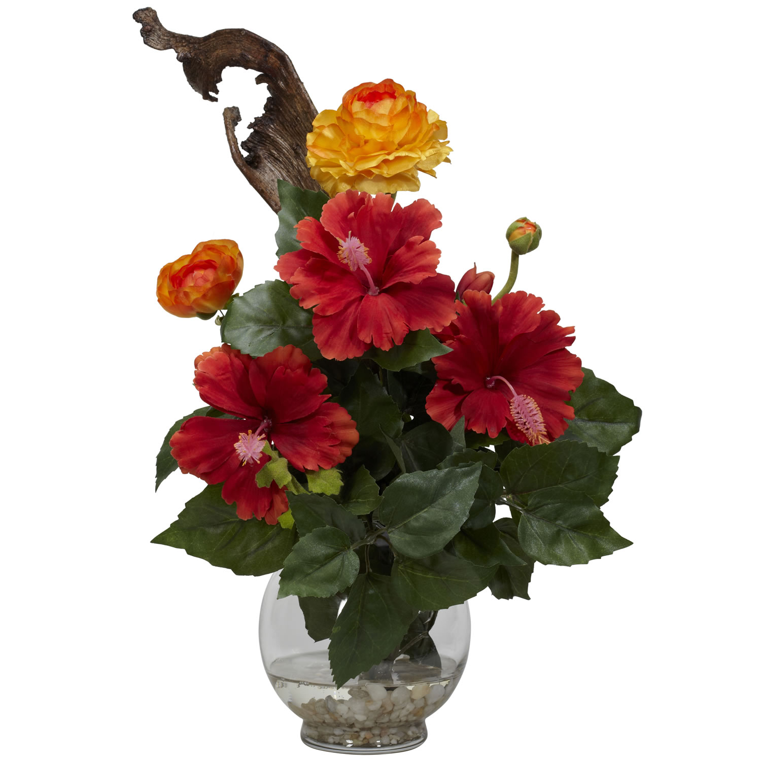 Hibiscus Ranunculus Wfluted Bowl Silk Flower Arrangement Silk