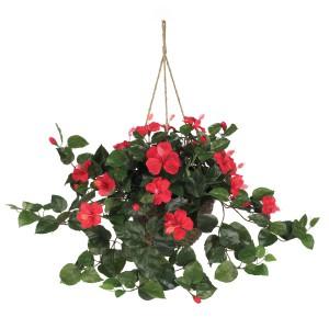 Hibiscus Silk Hanging Basket